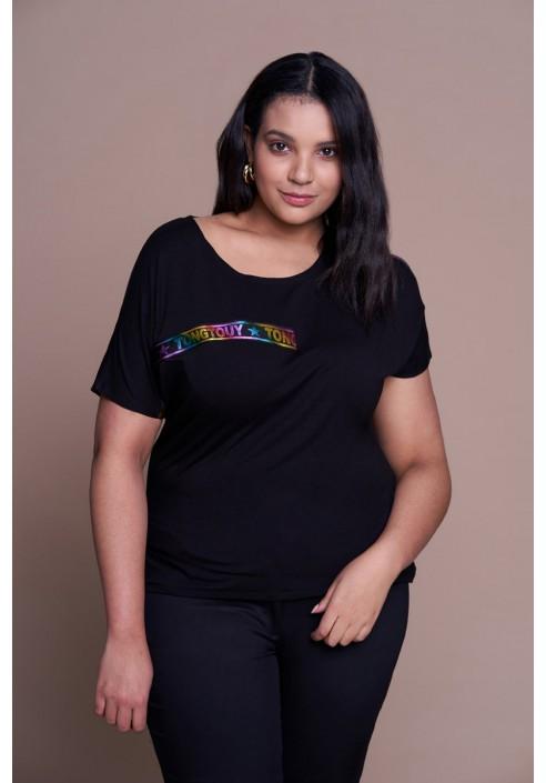 CARA BLACK modny t-shirt plus size