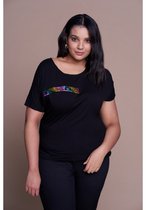 CARA BLACK modny t-shirt plus size