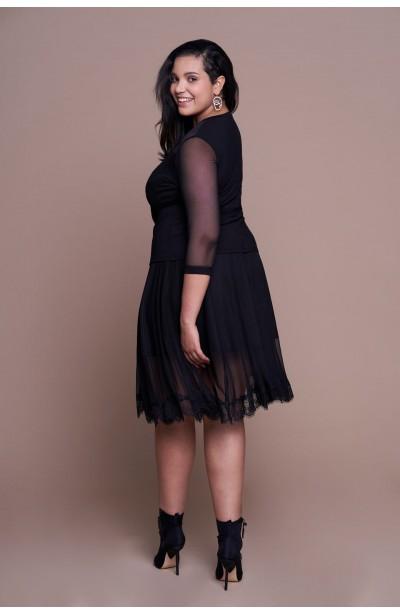 RACHEL BLACK tiulowa spódnica plus size z koronką