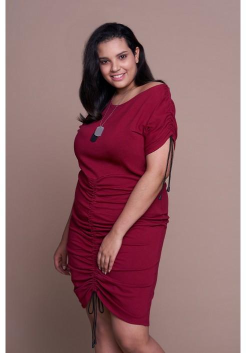 ZULA WINE wygodna sukienka plus size z wiązaniem