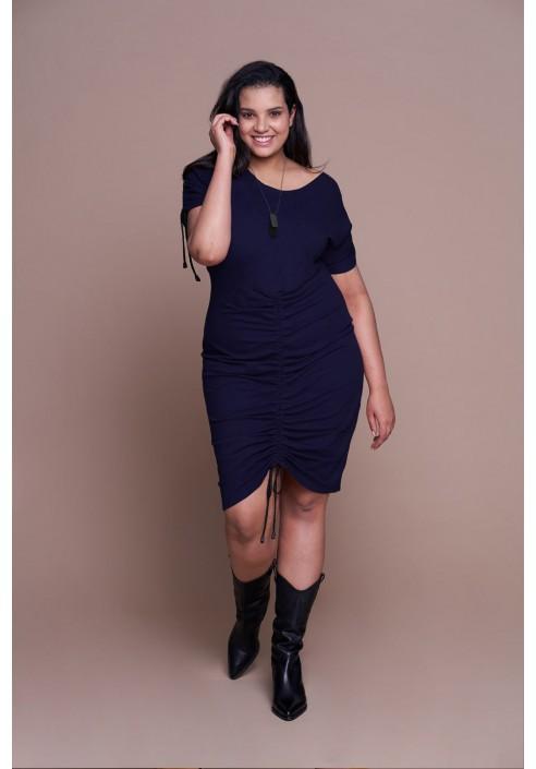 ZULA NAVY wygodna sukienka plus size z wiązaniem