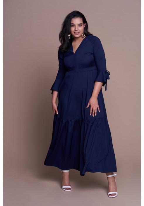 c1e09040e5 FLORENCE NAVY długa suknia plus size na wiosnę
