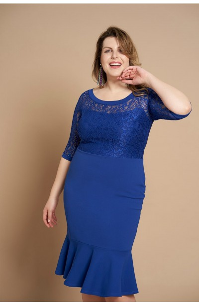 LINDA BLUE koronkowa sukienka plus size z falbaną