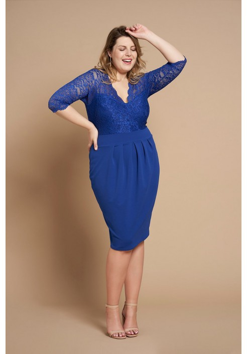 CARMEN BLUE wizytowa sukienka plus size z koronką