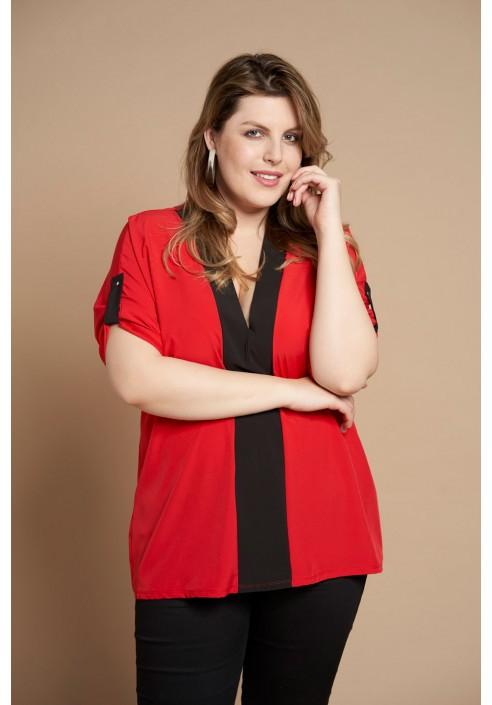 CINDY RED minimalistyczna koszula plus size