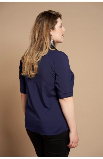 JESSICA NAVY wiązana koszula plus size