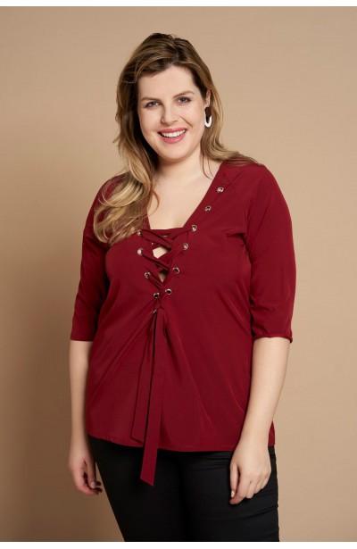 JESSICA WINE koszula plus size z wiązanym dekoltem