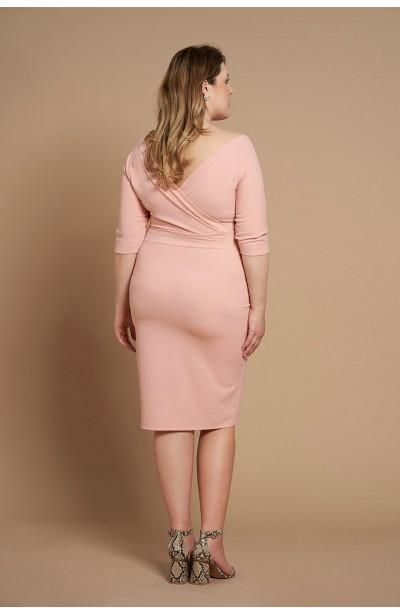 b80da23328 SATIN PEACH ołówkowa sukienka plus size z koronką