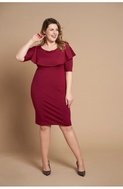 45d3ccf762 SELENA WINE elegancka sukienka plus size z falbaną
