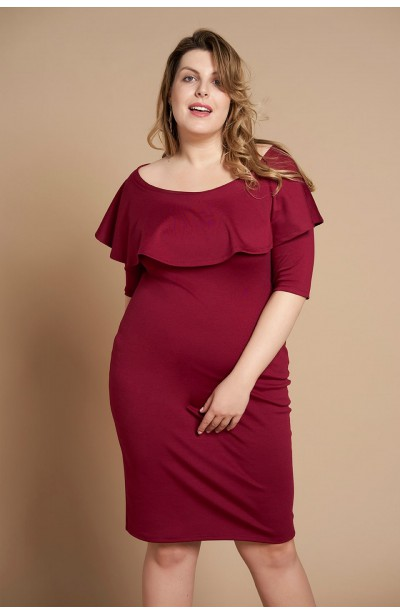 SELENA WINE elegancka sukienka plus size z falbaną