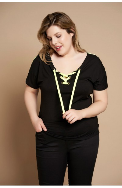 VIKI BLACK bluzka plus size z nenonowym wiązaniem