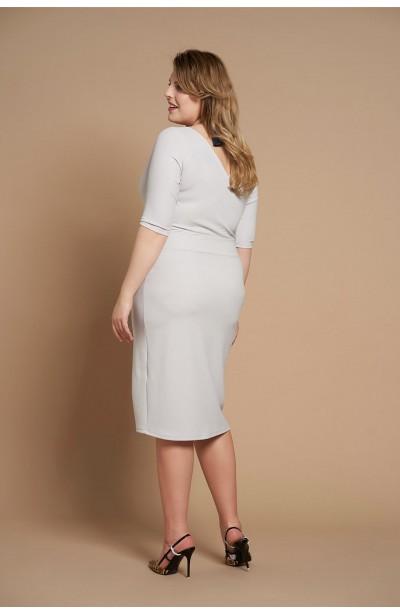 SATIN GRAY ołówkowa sukienka plus size z koronką