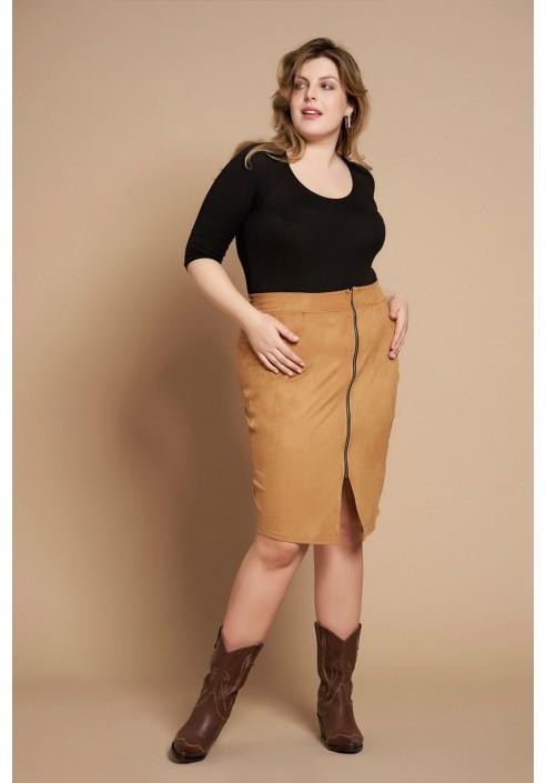 LILY NUT ołówkowa spódnica plus size z zamkiem