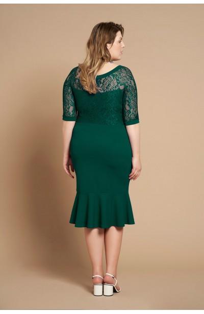 LINDA GREEN elegancka sukienka plus size z koronką