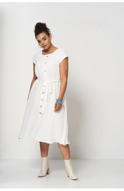 CAMILLA ECRU zwiewna sukienka plus size na lato