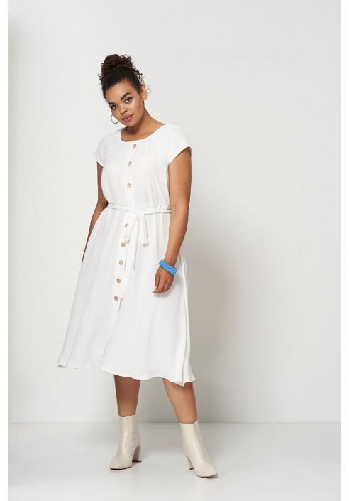 CAMILLA ECRU zwiewna sukienka na lato