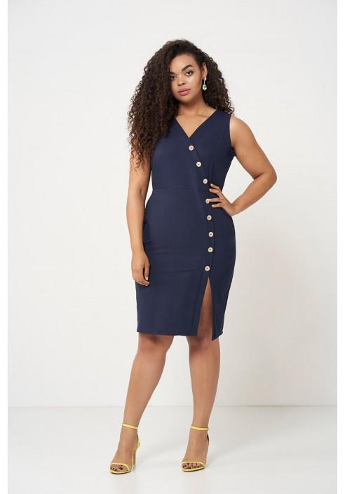 MARI NAVY ołówkowa sukienka plus size na lato