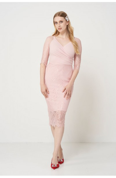FRANCESS PINK elegancka sukienka z koronką