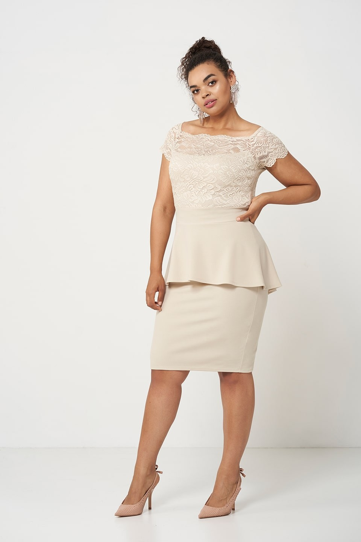 HELLEN BEIGE elegancka sukienka z baskinką
