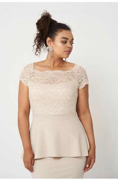 HELLEN BEIGE elegancka sukienka plus size