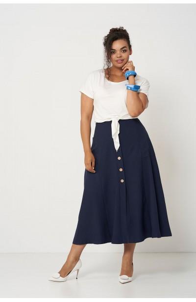 IDA NAVY długa spódnica plus size na lato