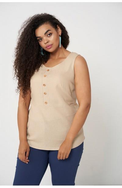 OLIVE SAND lniana bluzka plus size na lato