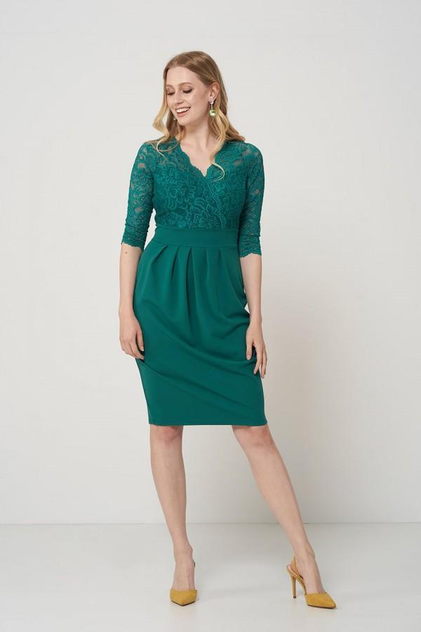CARMEN GREEN elegancka sukienka z koronką