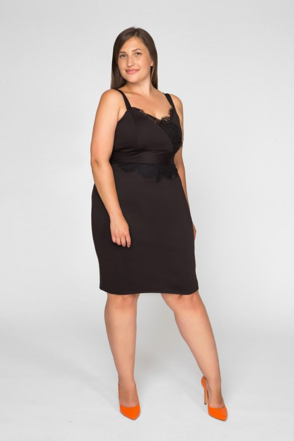 MARITA BLACK taliowana sukienka na ramiączkach