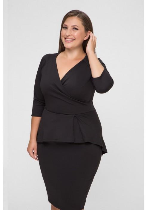 DIANE II BLACK sukienka z kopertowym dekoltem