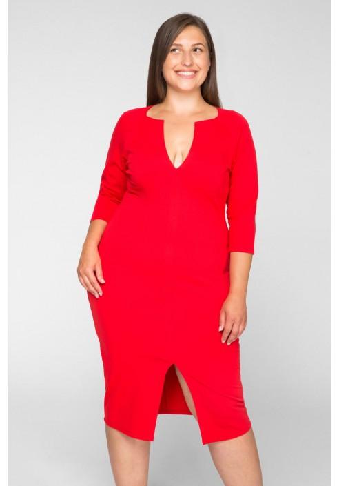 PEPPER czerowna prosta sukienka plus size na randkę i imprezę
