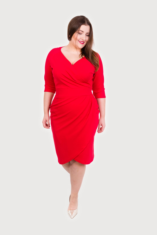 Czerwona Elegancka Sukiena Plus Size
