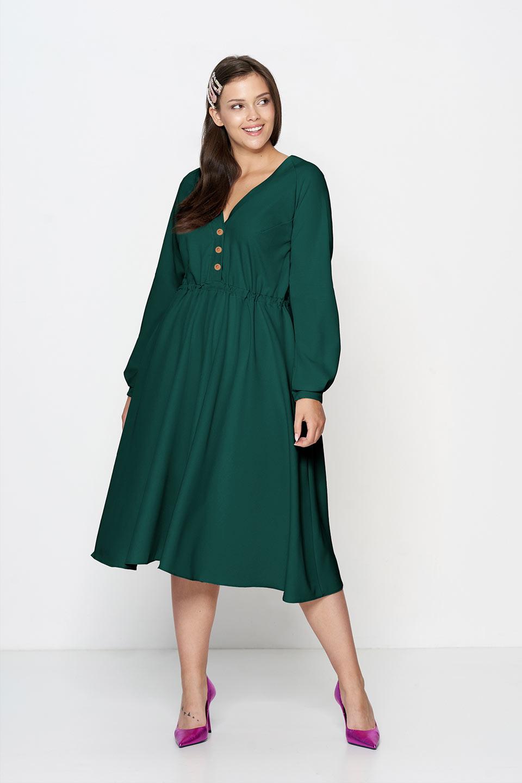 Zielona Rozkloszowana Sukienka Plus Size