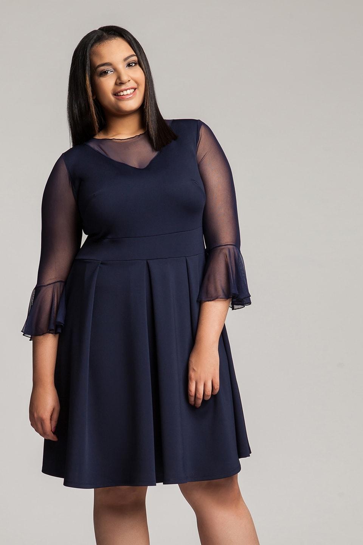c342dcae436258 NEVINA NAVY granatowa rozkloszowana elegancka sukienka z siateczką